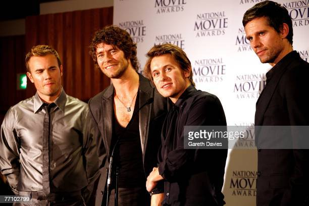 Take That Gary Barlow Howard Donald Mark Owen and Jason Orange pose in the awards room at the National Movie Awards at the Royal Festival Hall on...