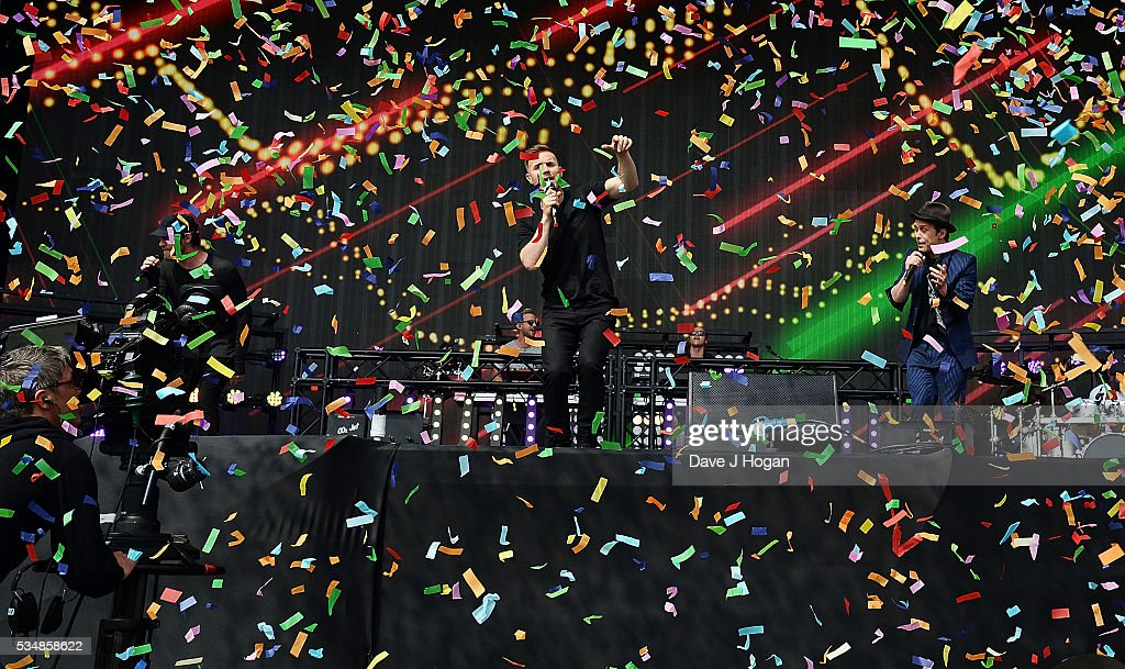 Take That perform as a guest appearance with Sigma during day 1 of BBC Radio 1's Big Weekend at Powderham Castle on May 28, 2016 in Exeter, England.