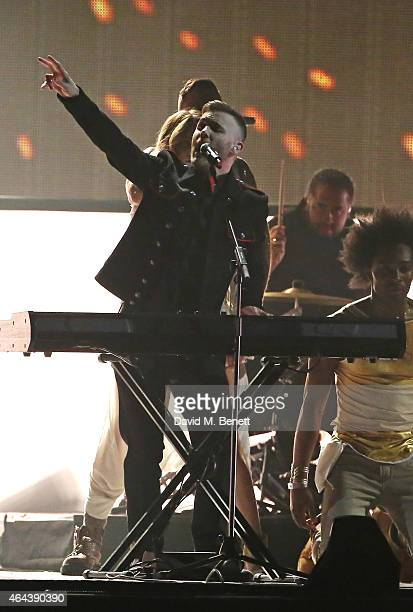 Take That perform at the BRIT Awards 2015 at The O2 Arena on February 25 2015 in London England