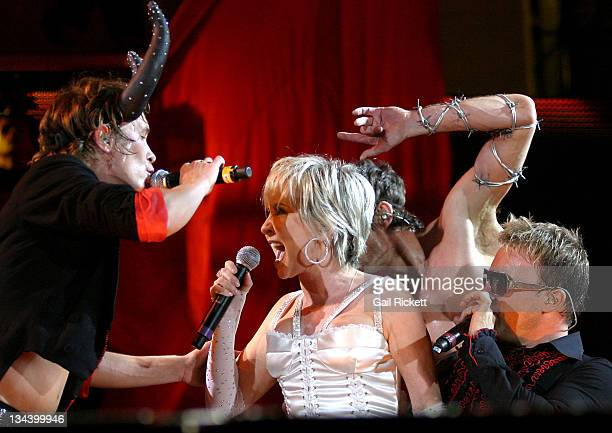 Take That with Lulu during Take That Concert at the City of Manchester Stadium June 17 2006 at City of Manchester Stadium in Manchester Great Britain