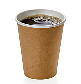 Blank takeaway coffee cup with clipping path isolated on white background