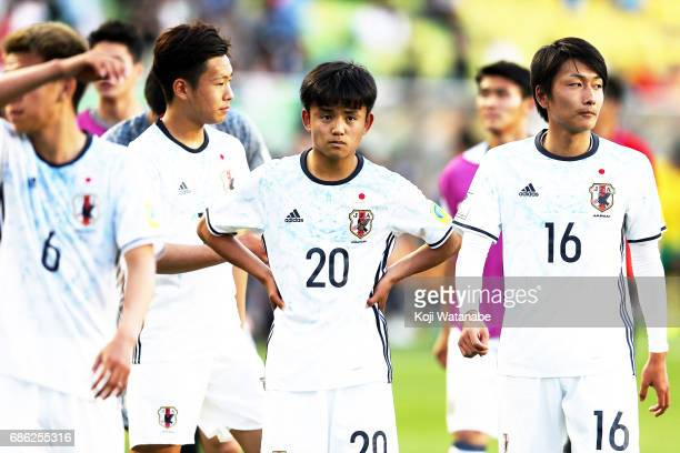 Takefusa Kubo of Japan celebrate win during the FIFA U20 World Cup SKorea Republic 2017 group D match between South Africa and Japan at Suwon World...