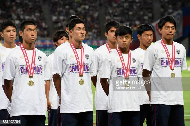 Takefusa Kubo and FC Tokyo youth team line up prior to the JLeague J1 match between FC Tokyo and Vissel Kobe at Ajinomoto Stadium on August 13 2017...