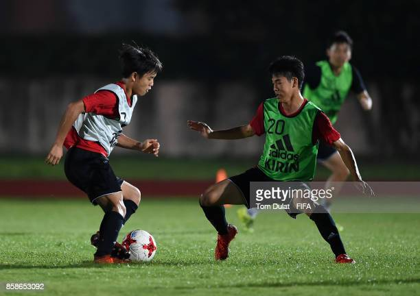 Takefusa Kubo and Naoki Trubaki in action during Japan training session ahead of the FIFA U17 World Cup India 2017 tournament on October 7 2017 in...