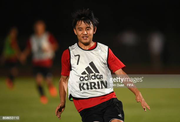 Takefusa Kubo in action during Japan training session ahead of the FIFA U17 World Cup India 2017 tournament on October 7 2017 in Guwahati India