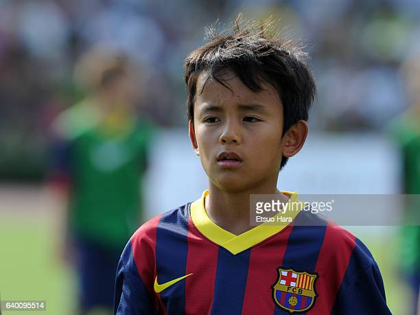 Takefusa Kubo of FC Barcelona in action during the U12 Junior Soccer World Challenge 2013 final match between FC Barcelona and Liverpool FC at...