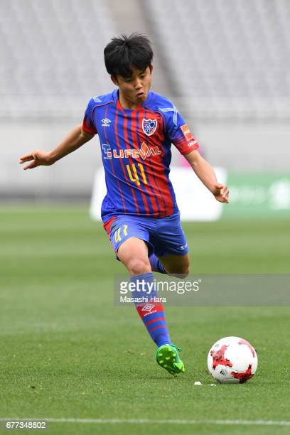 Takefusa Kubo of FC Tokyo in action during the JLeague Levain Cup Group A match between FC Tokyo and Consadole Sapporo at Ajinomoto Stadium on May 3...
