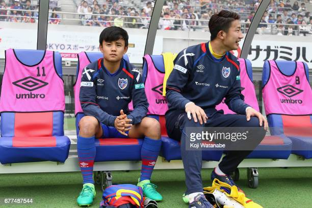 Takefusa Kubo of FC Tokyo is seen on the bench up prior to the JLeague Levain Cup Group A match between FC Tokyo and Consadole Sapporo at Ajinomoto...