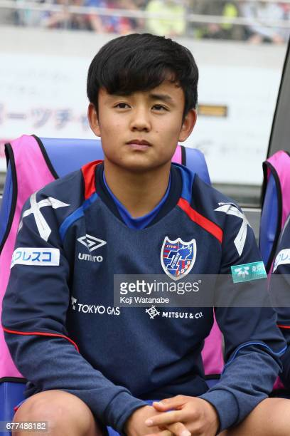 Takefusa Kubo of FC Tokyo is seen prior to the JLeague Levain Cup Group A match between FC Tokyo and Consadole Sapporo at Ajinomoto Stadium on May 3...