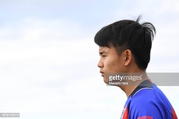 Takefusa Kubo of FC Tokyo looks on prior to the JLeague J3 match between FC Tokyo U23 and Fujieda MYFC at Yumenoshima Stadium on November 11 2017 in...