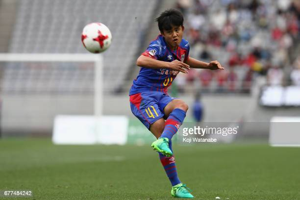 Takefusa Kubo of FC Tokyo takes a free kick during the JLeague Levain Cup Group A match between FC Tokyo and Consadole Sapporo at Ajinomoto Stadium...