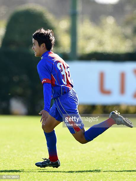 Takefusa Kubo of FC Tokyo U15 Musashi celebrates scoring his team's first goal during the Prince Takamado Trophy All Japan Youth Football League...