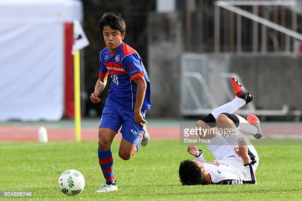 Takefusa Kubo of FC Tokyo U23 in action during the JLeague third division match between FC Tokyo U23 and Cerezo Osaka U23 at Yumenoshima Stadium on...