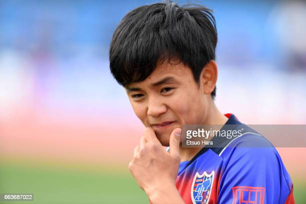 Takefusa Kubo of FC Tokyo U23 looks on during the JLeague J3 match between FC Tokyo U23 and Kagoshima United at Yumenoshima Stadium on April 2 2017...