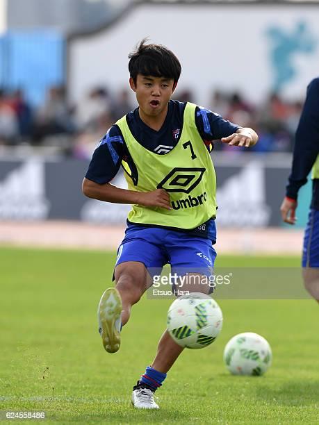 Takefusa Kubo of FC Tokyo U23 warms up during the JLeague third division match between FC Tokyo U23 and Cerezo Osaka U23 at Yumenoshima Stadium on...