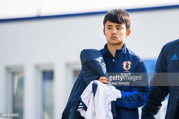 Takefusa Kubo of Japan arrives prior to a Friendly Match between MSV Duisburg and the U20 Japan on March 26 2017 in Duisburg Germany