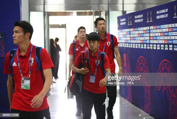 Takefusa Kubo of Japan arrives with team mates prior to the FIFA U20 World Cup Korea Republic 2017 Round of 16 match between Venezuela and Japan at...