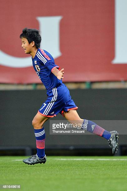 Takefusa Kubo of Japan celebrates his goal during the friendly match between Thailand U16 and Japan U15 at Leo Stadium on July 23 2015 in Bangkok...