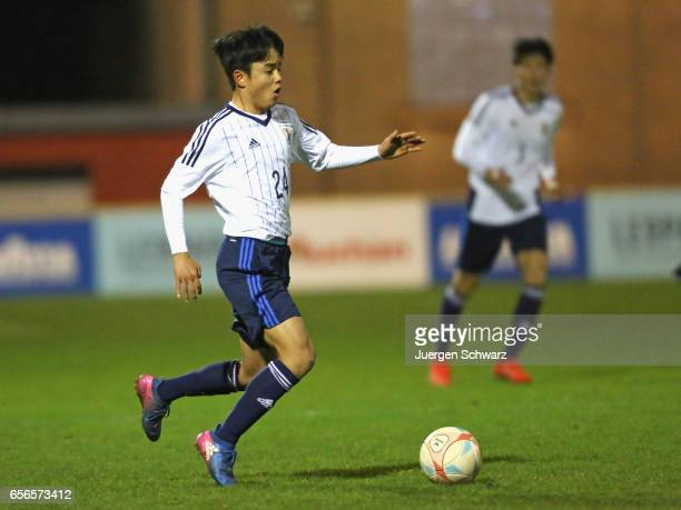 Takefusa Kubo of Japan controls the ball during a friendly soccer match between F91 Diddeleng and the Japan U20 team at Stade Jos Nosbaum on March 22...