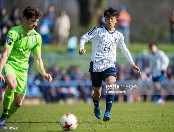Takefusa Kubo of Japan in action during a Friendly Match between MSV Duisburg and the U20 Japan on March 26 2017 in Duisburg Germany