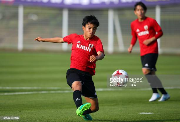 Takefusa Kubo of Japan in action during a training session at the Daejeon World Cup Stadium training pitch during the FIFA U20 World Cup on May 29...