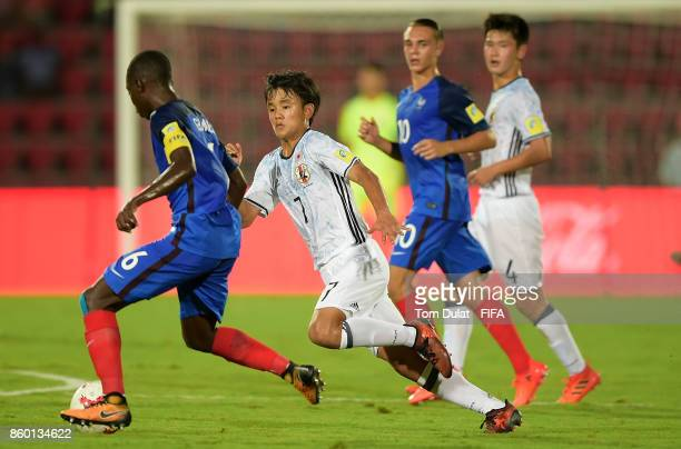 Takefusa Kubo of Japan in action during the FIFA U17 World Cup India 2017 group E match between France and Japan at Indira Gandhi Athletic Stadium on...