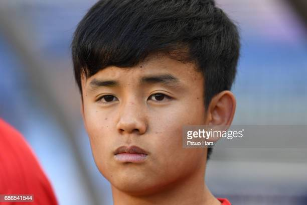 Takefusa Kubo of Japan looks on prior to the FIFA U20 World Cup SKorea Republic 2017 group D match between South Africa and Japan at Suwon World Cup...