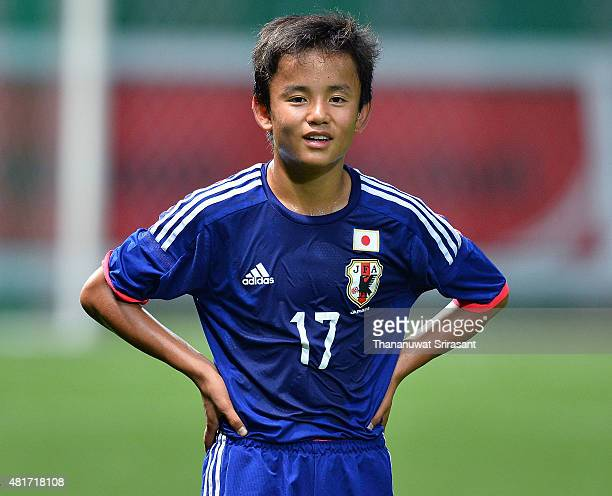 Takefusa Kubo of Japan poses during the friendly match between Thailand U16 and Japan U15 at Leo Stadium on July 23 2015 in Bangkok Thailand