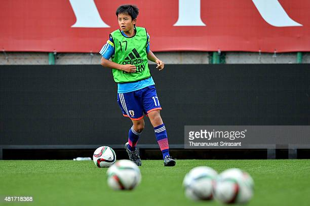 Takefusa Kubo of Japan runs with the ball during the friendly match between Thailand U16 and Japan U15 at Leo Stadium on July 23 2015 in Bangkok...
