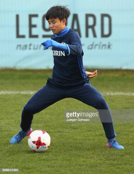 Takefusa Kubo of Japan warms up at a friendly soccer match between F91 Diddeleng and the Japan U20 team at Stade Jos Nosbaum on March 22 2017 in...