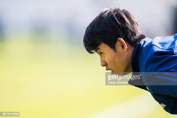 Takefusa Kubo of Japan warms up during a Friendly Match between MSV Duisburg and the U20 Japan on March 26 2017 in Duisburg Germany
