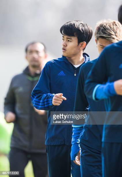 Takefusa Kubo of Japan warms up himself during a Friendly Match between MSV Duisburg and the U20 Japan on March 26 2017 in Duisburg Germany