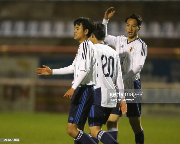 Takefusa Kubo Yuto Iwasaki and Yuta Kamiya of Japan celebrate during a friendly soccer match between F91 Diddeleng and the Japan U20 team at Stade...