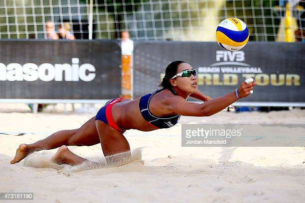 Takemi Nishibori of Japan dives for a ball during Day 2 of the FIVB Lucerne Open on May 13 2015 in Lucerne Switzerland