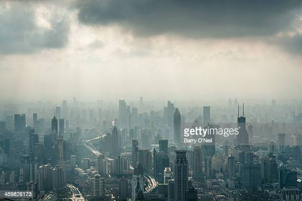 CONTENT] Taken from the top observation deck of the Shanghai World Financial Center in the Lujiazui area of Shanghai