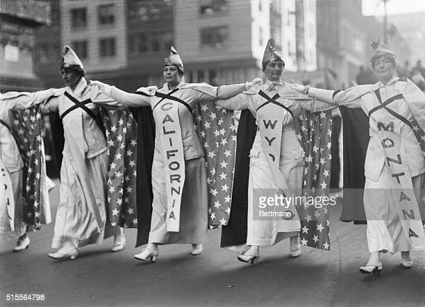 Taken October 23 during the parade of over 25000 women advocated of equal suffrage shows a close up view of the women representing California Wyoming...