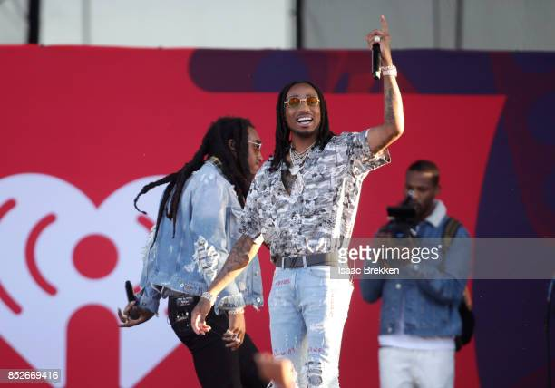 Takeoff and Quavo of Migos perform onstage during the Daytime Village Presented by Capital One at the 2017 HeartRadio Music Festival at the Las Vegas...