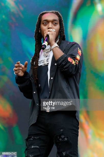 Takeoff of Migos performs during the 2017 Boston Calling Music Festival at Harvard Athletic Complex on May 26 2017 in Boston Massachusetts