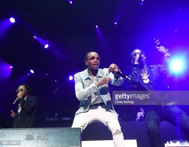 Takeoff Quavo and Offset of Migos perform at the Hot 1079 Birthday Bash at Philips Arena on June 17 2017 in Atlanta Georgia