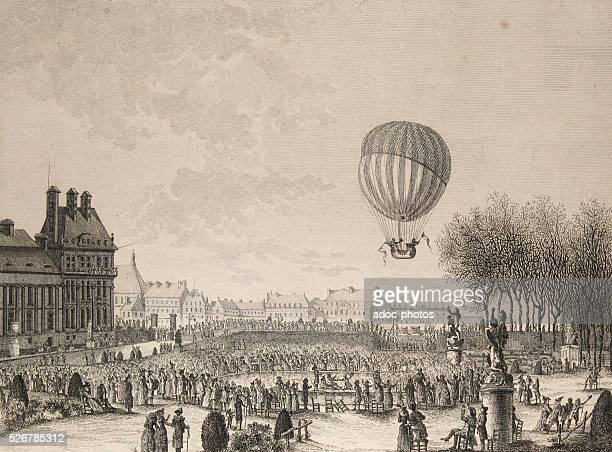 Takeoff the airship of Jacques Charles and NicolasLouis Robert from the Tuileries Garden in Paris On December 1st 1783