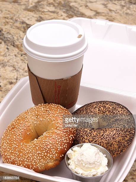 Take-out bagels and coffee