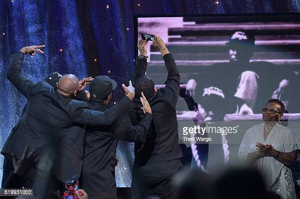 A takes a selfie at the 31st Annual Rock And Roll Hall Of Fame Induction Ceremony at Barclays Center on April 8 2016 in New York City