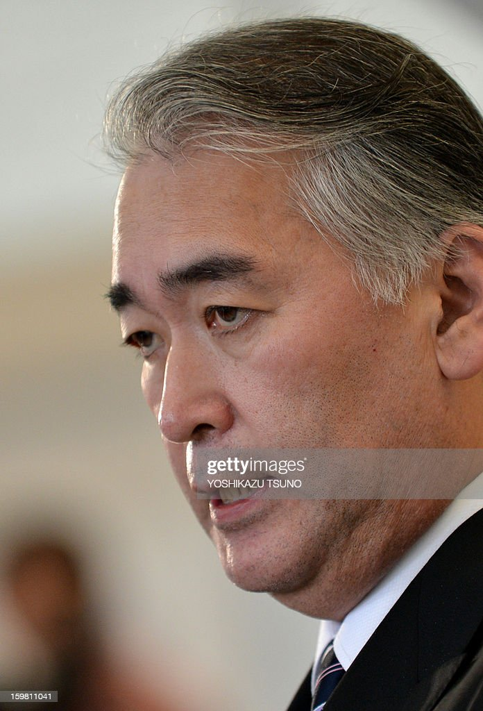 Takeshi Endo, public relations manager of Japanese plant construction company JGC, answers questions during a press conference at the JGC headquarters in Yokohama, suburban Tokyo on January 21, 2013. JGC has been thrust into the spotlight by the hostage crisis, which has seen as many as a dozen Japanese nationals killed. A Japanese hostage who narrowly survived the armed attack on an Algerian gas plant said he was sure he would die after seeing two colleagues shot dead in front of him, a report said on January 21. AFP PHOTO / Yoshikazu TSUNO