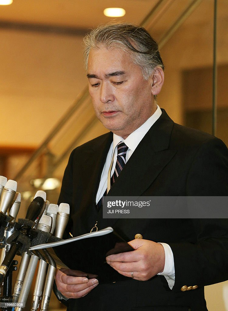 Takeshi Endo, public relations manager of Japanese plant construction company JGC, makes an announcement regarding death of staff members in the Algerian hostage crisis during a press conference at the JGC headquarters in Yokohama, suburban Tokyo on January 22, 2013. The Japanese government said seven Japanese people were killed in the Algerian hostage crisis, the first confirmation from Tokyo that any of its nationals had died. AFP PHOTO / JIJI PRESS JAPAN OUT