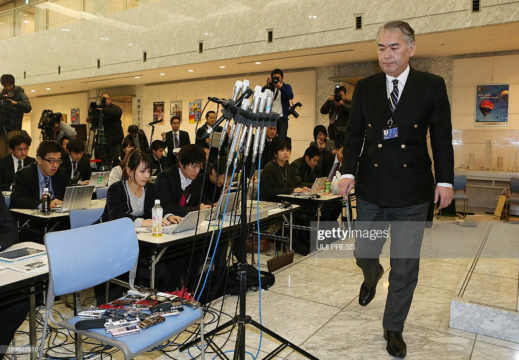 Takeshi Endo, public relations manager of Japanese plant construction company JGC, arrives to make an announcement regarding death of staff members in the Algerian hostage crisis during a press conference at the JGC headquarters in Yokohama, suburban Tokyo on January 22, 2013. The Japanese government said seven Japanese people were killed in the Algerian hostage crisis, the first confirmation from Tokyo that any of its nationals had died.