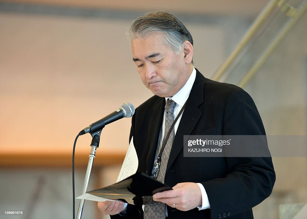 Takeshi Endo, public relations manager of Japanese plant construction company JGC, holds a press conference at the JGC headquarters in Yokohama, suburban Tokyo on January 24, 2013 following the Algerian hostage crisis. A Japanese government plane will bring home seven Japanese survivors and the bodies of Japanese victims from Algeria on January 25 or later.