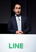 Takeshi Idezawa president of LINE Corporation speaks during a press conference in Tokyo on July 27 2016 Line which listed in the Tokyo Stock Exchange...