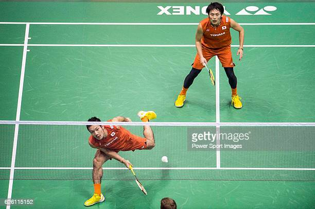 Takeshi Kamura and Keigo Sonoda of Japan competes against Mathias Boe and Carsten Mogensen of Denmark during their Men's Doubles Final of...