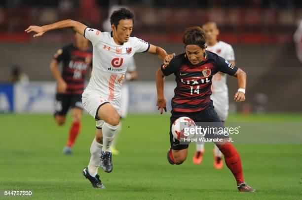 Takeshi Kanamori of Kashima Antlers and Kohei Yamakoshi of Omiya Ardija during the JLeague J1 match between Kashima Antlers and Omiya Ardija at...
