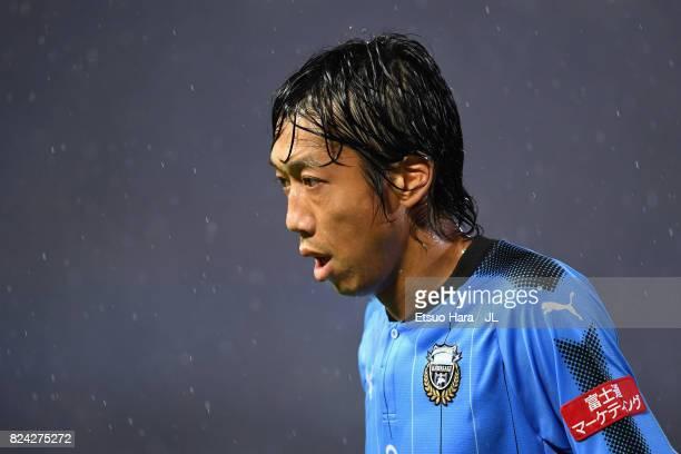 Takeshi Kanamori of Kashima Antlers reacts during the JLeague J1 match between Kawasaki Frontale and Jubilo Iwata at Todoroki Stadium on July 29 2017...